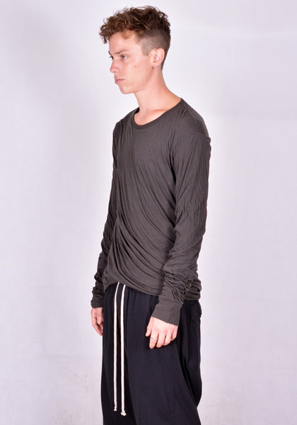 RICK OWENS DOUBLE LAYERED LONG SLEEVE T-SHIRT DARK DUST | DOSHABURI