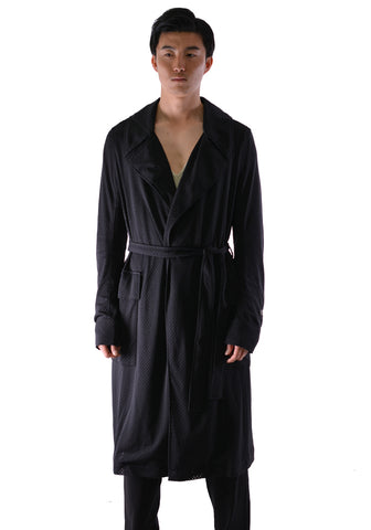 RICK OWENS CHAMPION CM20S0013 215228 MESH LINED TRENCH COAT BLACK - DOSHABURI Shop