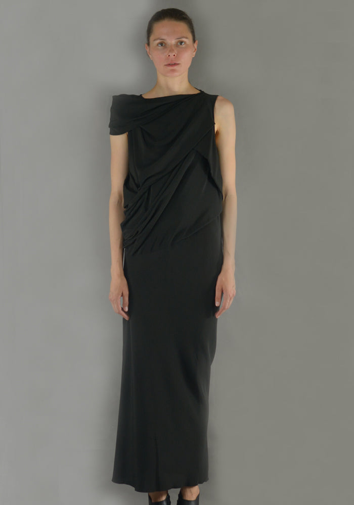 RICK OWENS RP19F5574 CC 09 KNOT DRESS BLACK - DOSHABURI Shop