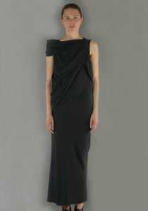 RICK OWENS RP19F5574 CC 09 KNOT DRESS BLACK-DOSHABURI Online Shop