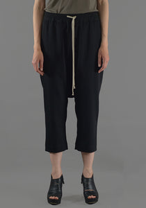 RICK OWENS RP19F5308 WT DRAWSTRING CROPPED PANTS BLACK NEW WOOL 19FW-DOSHABURI Online Shop