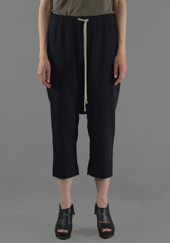 RICK OWENS RP19F5308 WT DRAWSTRING CROPPED PANTS BLACK NEW WOOL - DOSHABURI Shop