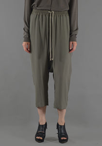 RICK OWENS RP19F5308 CC DRAWSTRING CROPPED PANTS DUST - DOSHABURI Shop