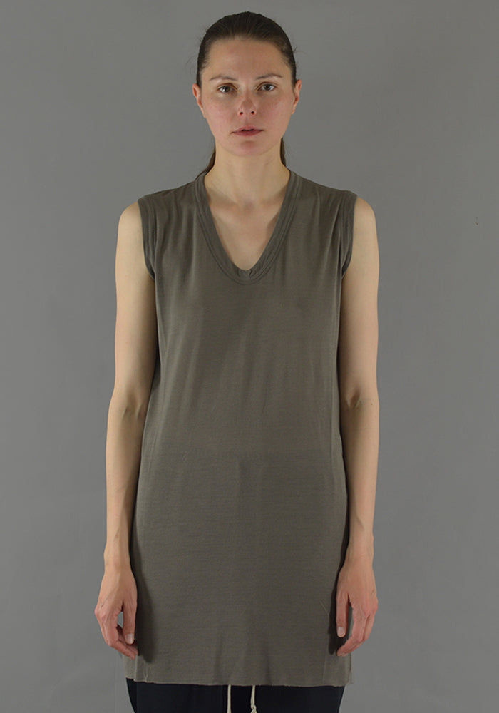 RICK OWENS RP19F5102 JS V-NECK SLEEVELESS T-SHIRT DUST - DOSHABURI Shop
