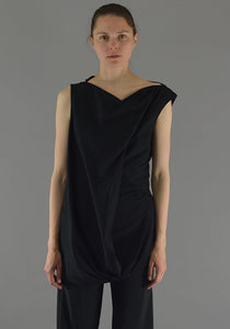 RICK OWENS RP19F5107 JA SLASH NECK TOP BLACK - DOSHABURI Shop