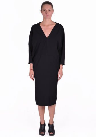 RICK OWENS RP20S1511 GG V-NECK DRESS BLACK - DOSHABURI Shop