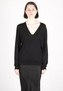 RICK OWENS RP21S3623 M V-NECK KNIT SWEATER BLACK 2021SS | DOSHABURI Online Shop