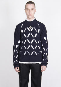 STEFAN COOKE SCSS21KN4 DIAMOND SLASHED JUMPER NAVY 2021SS | DOSHABURI Online Shop