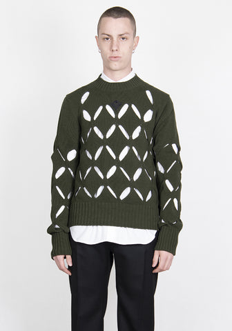 STEFAN COOKE SCSS21KN4 DIAMOND SLASHED JUMPER KHAKI GREEN 2021SS | DOSHABURI Online Shop