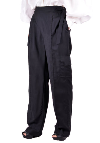 SITUATIONIST PANT-01-WOOL-BLAC CARGO PANTS BLACK - DOSHABURI Shop