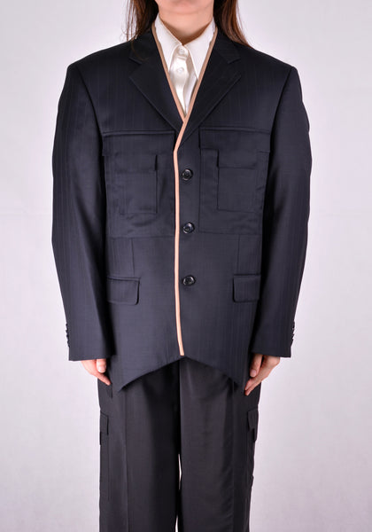 SITUATIONIST JACK-03-WOOL-BLUE JACKET DARK BLUE - DOSHABURI Shop