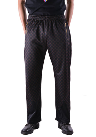 SSS WORLD CORP S20TRACKP3 MONOGRAM WESTERN TRACK PANTS BLACK - DOSHABURI Shop