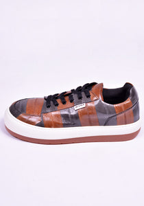 SUNNEI D03 EEL STRIPES SNEAKERS BROWN/GREY 2020FW | DOSHABURI Online Shop