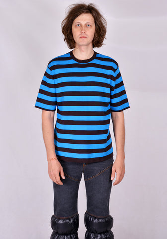 SUNNEI T01 KITTED STRIPE T-SHIRT BLUE/MOKA 2020FW | DOSHABURI Online Shop