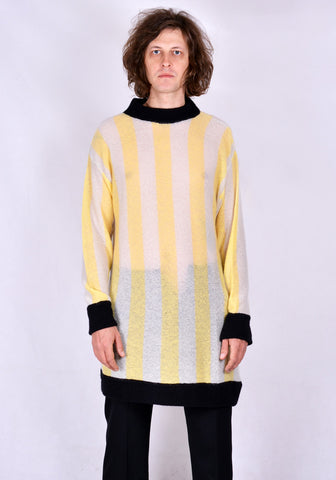 SUNNEI LS01 STRIPE LONG KNIT SWEATER YELLOW/WHITE/BLACK FW20 | DOSHABURI Online Shop