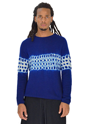 SUZUSAN 3028K-031 UNISEX SEAMLESS CASHMERE KNIT SWEATER BLUE - DOSHABURI Shop