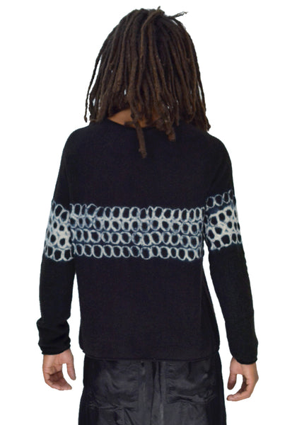 SUZUSAN 3028K-031 UNISEX SEAMLESS CASHMERE KNIT SWEATER BLACK - DOSHABURI Shop