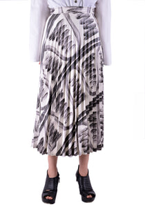 THEBE MAGUGU TM SS20-00019 CAVE DRAWING PLEATED SKIRT WHITE/BLACK - DOSHABURI Shop