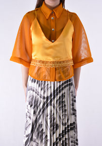 THEBE MAGUGU TM SS20-00016 MESH SAFARI SHIRT ORANGE - DOSHABURI Shop