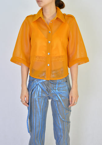 THEBE MAGUGU MESH SAFARI SHIRT ORANGE 20SS-DOSHABURI Online Shop