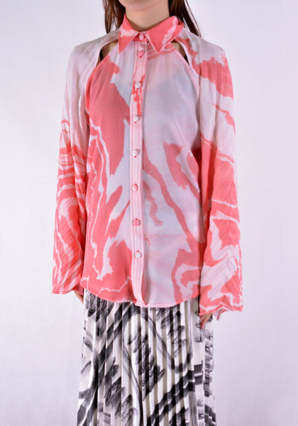 THEBE MAGUGU TM SS20-00001 ZEBRA MUD BLOUSE WHITE/RED - DOSHABURI Shop
