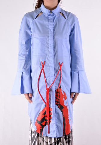 THEBE MAGUGU TM SS20-00004 WOMANDLA LONG SHIRT POWDER BLUE - DOSHABURI Shop