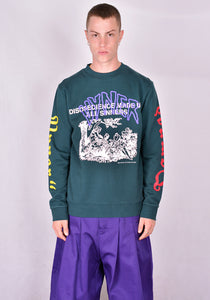 VYNER ARTICLES 0A08 MULTI PRINT SWEATSHIRT DARK GREEN