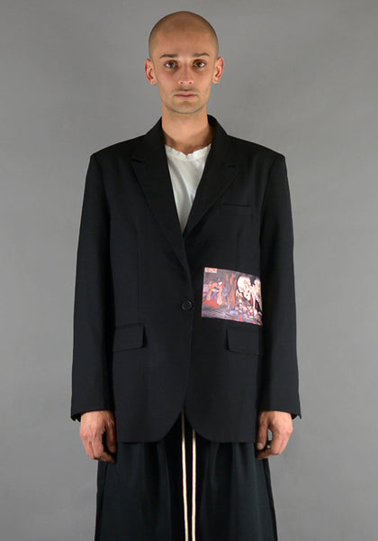 YUIKI SHIMOJI PATCHED BLAZER BLACK SKELETON MONSTER - DOSHABURI Shop