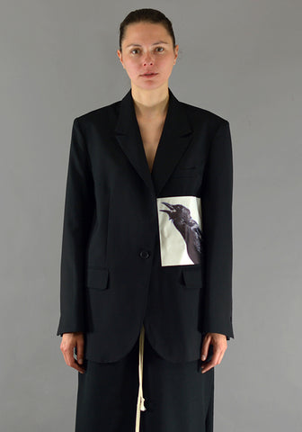 YUIKI SHIMOJI PATCHED BLAZER BLACK CROW LEFT - DOSHABURI Shop
