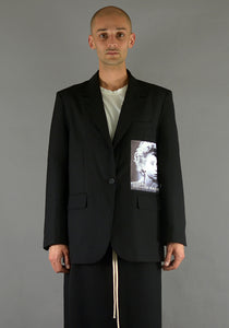 YUIKI SHIMOJI PATCHED BLAZER BLACK CINEMA-DOSHABURI Online Shop