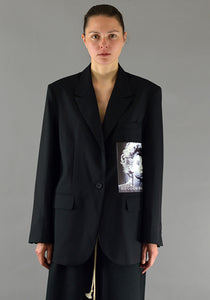 YUIKI SHIMOJI PATCHED BLAZER BLACK CINEMA - DOSHABURI Shop