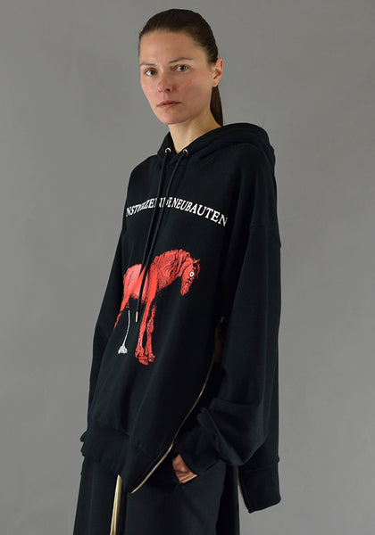 YUIKI SHIMOJI HORSE SIDE ZIP SWEAT HOODIE BLACK - DOSHABURI Shop
