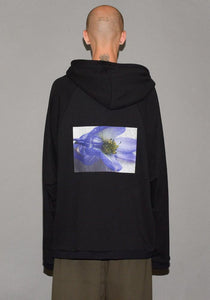 YUIKI SHIMOJI UNISEX STRAIGHT ZIP HOODIE BLACK PURPLE FLOWER - DOSHABURI Shop