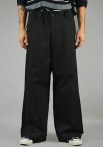 YUIKI SHIMOJI UNISEX WIDE PANTS BLACK - DOSHABURI Shop