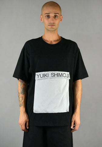 YUIKI SHIMOJI BIG POCKET T-SHIRT BLACK/LIGHT GREY - DOSHABURI Shop