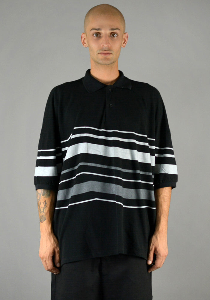 YUIKI SHIMOJI OVERSIZE STRIPE POLO SHIRT BLACK/GREY - DOSHABURI Shop