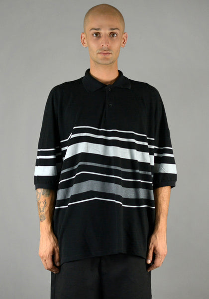 YUIKI SHIMOJI OVERSIZE STRIPE POLO SHIRT BLACK/GREY-DOSHABURI Online Shop