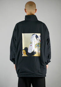 YUIKI SHIMOJI UNISEX WINDBREAKER BLACK UKIYO-E LOVERS-DOSHABURI Shop