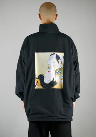 YUIKI SHIMOJI UNISEX WINDBREAKER BLACK UKIYO-E LOVERS - DOSHABURI Shop