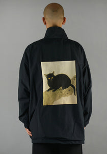 YUIKI SHIMOJI UNISEX WINDBREAKER BLACK CAT-DOSHABURI Online Shop