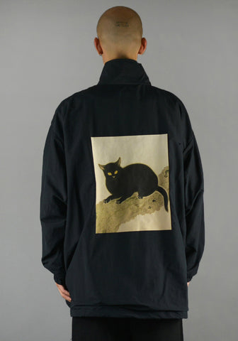 YUIKI SHIMOJI UNISEX WINDBREAKER BLACK CAT - DOSHABURI Shop