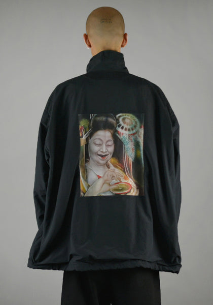 YUIKI SHIMOJI UNISEX WINDBREAKER BLACK OIRAN GIRL-DOSHABURI Shop
