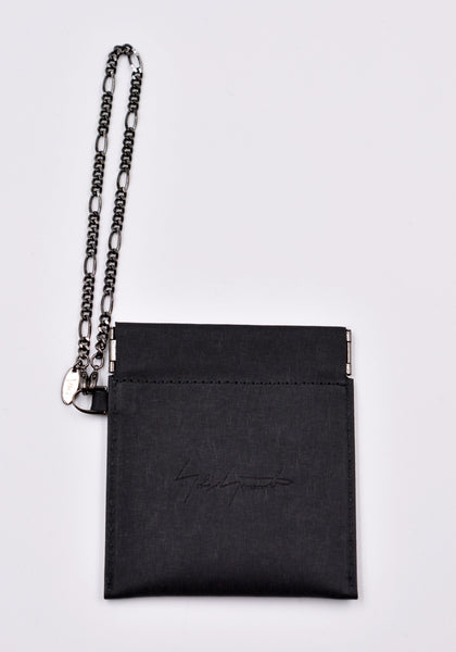 YOHJI YAMAMOTO DISCORD DD-A20-715 SPRING MOUTH COIN CASE BLACK LEATHER | DOSHABURI Online Shop