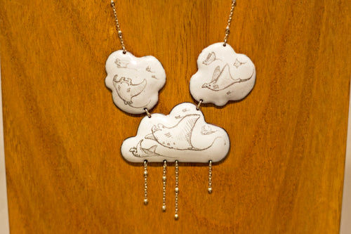 Manta Ray Cloud Cluster Pendant