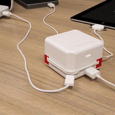 PowerUSB|Portable| 4-Port USB Bank with Interchangeable plug hook
