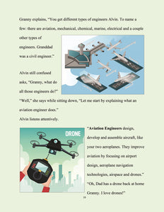 page 11 - The kid who wants to become an engineer. Granny explains what Aviation Engineers do.