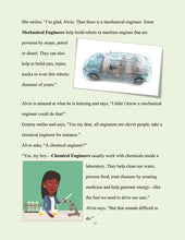 page 12 - The kid who wants to become an engineer. Granny explains Mechanical Engineers and Chemical Engineers.
