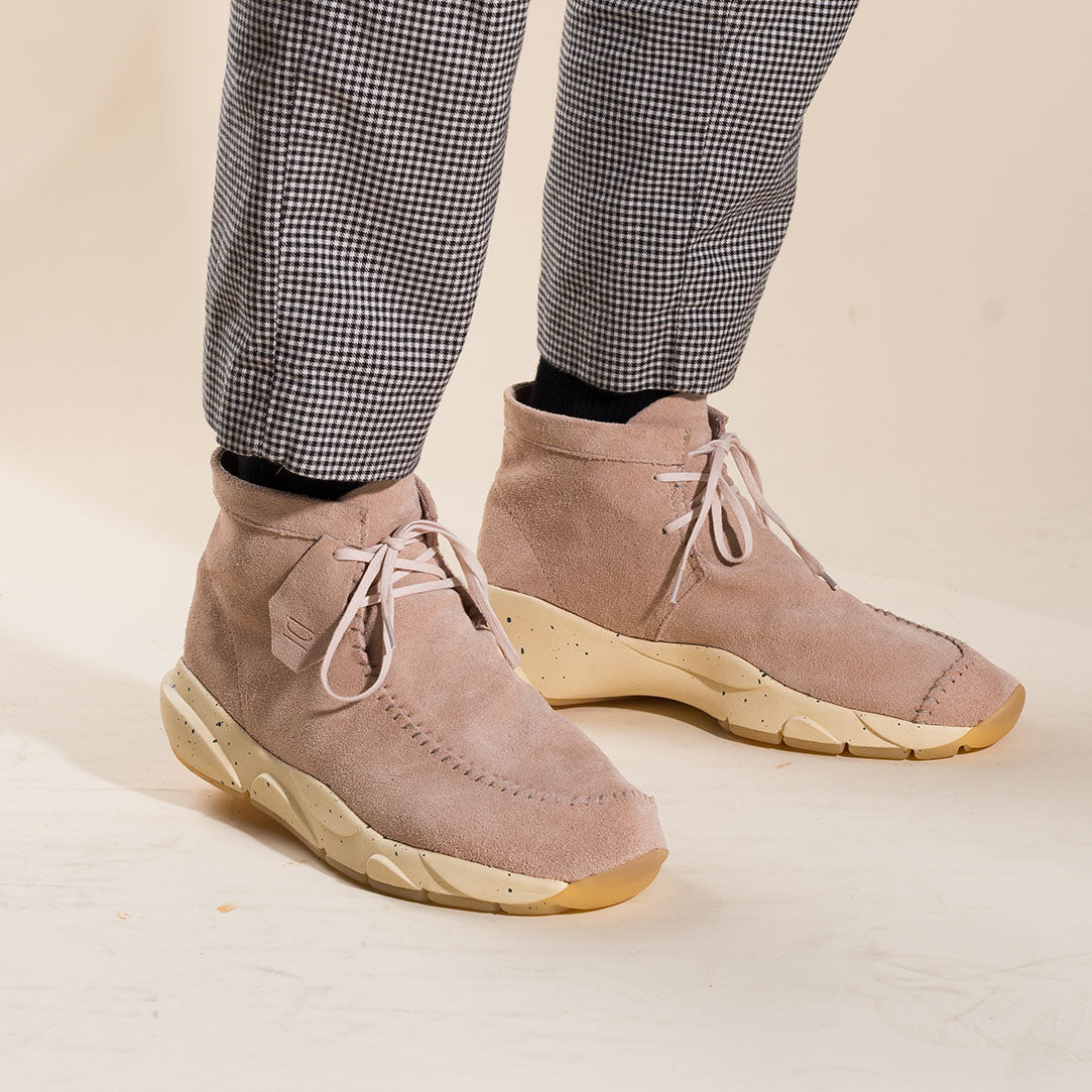 castas high top suede leather sneaker in rose dust by clearwearther lacednlit on thedrop
