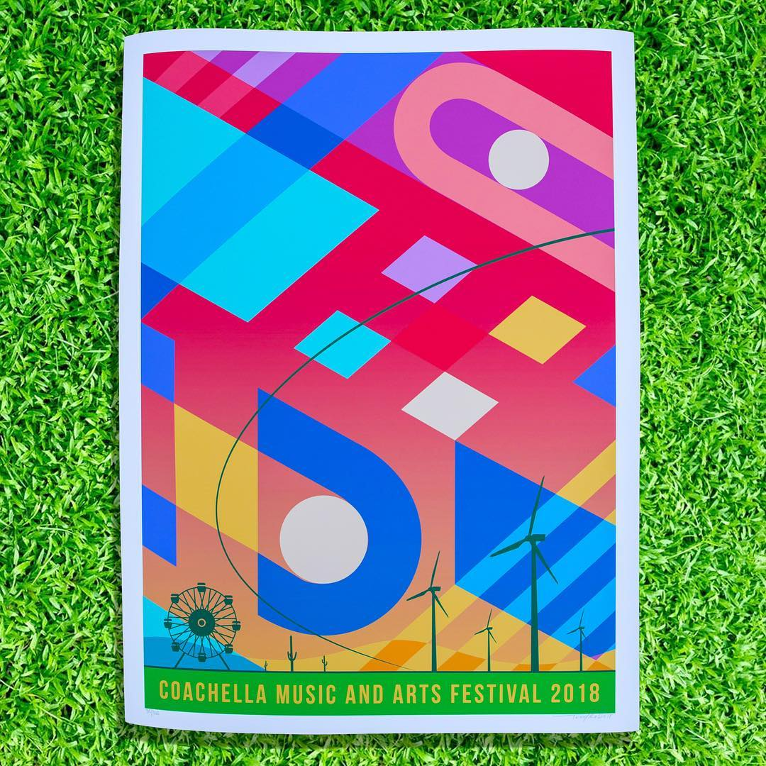 coachella 2018 poster print official artwork teddy kelly artist lacednlit