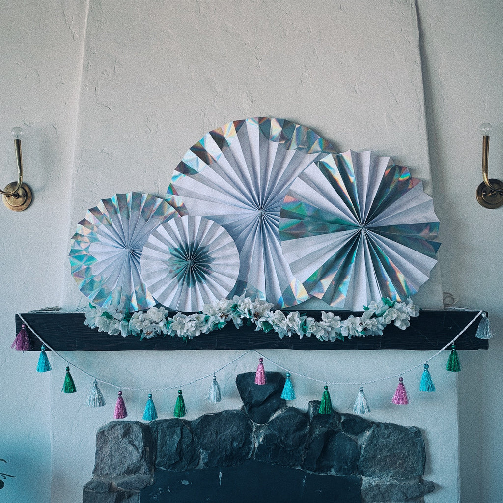 Giant Silver Holographic Pinwheels